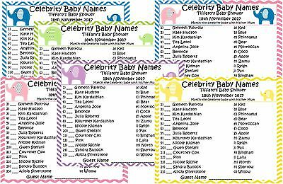 Baby Shower Celebrity Baby Name Game x 20 fully personalised