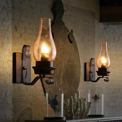 Rustic 1-light Vintage Chimney Shade Metal Glass Wall Sconce Lamp Chandelier