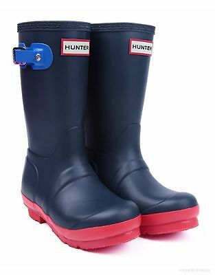 New **contrast Blue **  Childrens Hunter Wellies Wellington Riding Boots Size 12