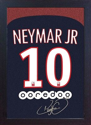 new Neymar JR T-shirt Paris Saint Germain signed CANVAS 100% cotton Framed