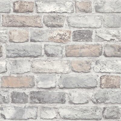 GranDeco Home-Vintage Brick Wallpaper A28902 Pastels