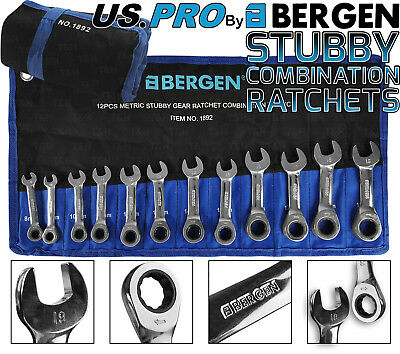 BERGEN Stubby Combi Ratchet Spanner 12pc Combination Wrench Tool Set 8-19mm