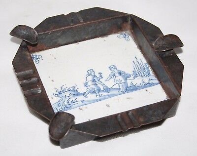 17th Century Antique Dutch Delft Tile Mounted in Pewter Ashtray - Lovers