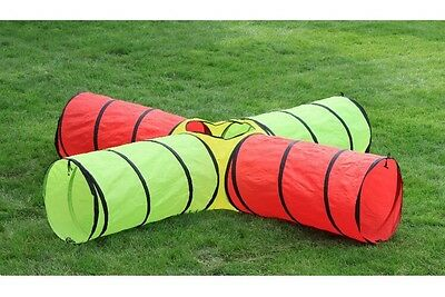 4 Way Kids Play Tunnel Pop Up Through Middle 8 Feet Long Vibrant By Hide N Side