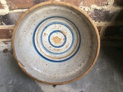Large Cobalt Folk Stoneware Pottery Bowl Crock Churn/Alabama/Mississippi/Texas