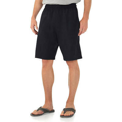 Fruit of the Loom Big Men's Jersey Short with Side Pockets Sizes 2XL, 4XL Black