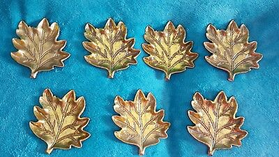 NEW LOT 7  Cast Iron Leaf/Leaves Ring/Trinket Dish w/Gold Paint FALL  WEDDING