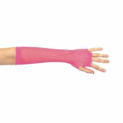Mitaines Longues Rose Fluo Adulte