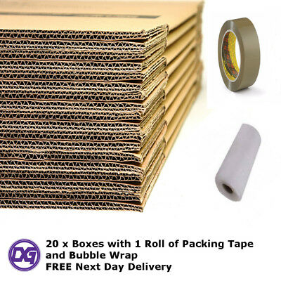 20 X Large Flat Packed Cardboard Moving Boxes - with Packing Tape & Bubble Wrap
