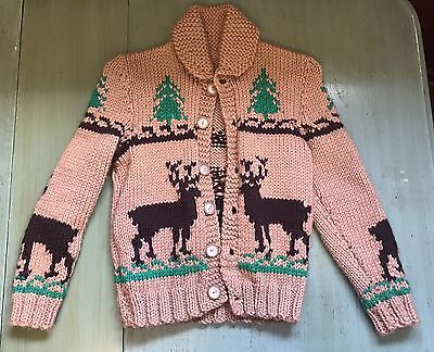 COWICHAN ROCKABILLY VTG 40'S 50'S Mary Maxim Deer BOY CARDIGAN WOOL SWEATER