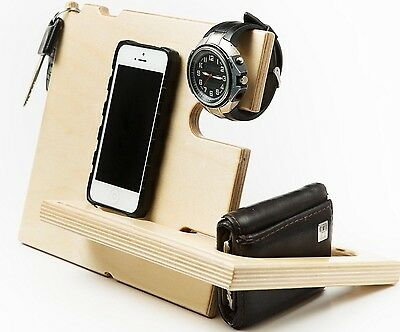 Catchall Jigsaw iPhone wood Stand Apple Watch Stand Men's Valet Watch Stand