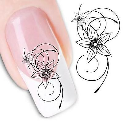 2pcs Black Flower Floral Water Nail Art Sticker Nail Gel Tip Decal Beauty Decor