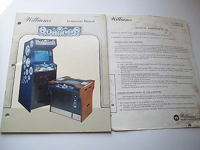 Williams BUBBLES Original 1983 Video Arcade Game Instruction Service Manual