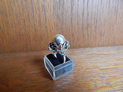 Vintage Art Nouveau 925 Sterling Silver Ball Pearl Flower Ring Size 9.5 Signed