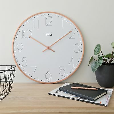 NEW Ola SILENT SWEEP Wall Clock 50cm (copper) by Toki by PS Home and Living