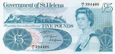 P7b SAINT HELENA 1976 FIVE POUNDS BANKNOTE IN MINT CONDITION