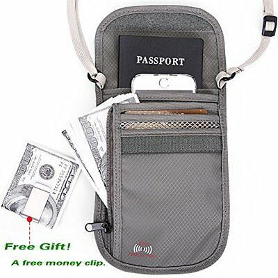 Passport Wallet Holder Travel with RFID Blocking for Security Gray Holders ID