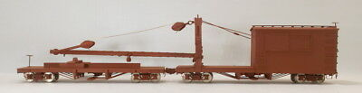 "On3 BRASS WSM DENVER & RIO GRANDE WESTERN DERRICK ""OP"" W/IDLER FLAT CAR PAINTED"