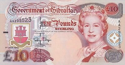 P26a GIBRALTAR 1995 TEN POUNDS BANKNOTE IN MINT CONDITION