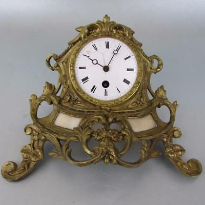ANTIQUE FRENCH CLOCK MOVEMENT with PART GILT METAL CASE early silk suspnsion