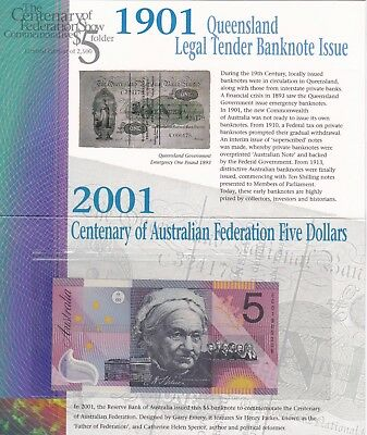 2001 Australia P56 Five Dollars Banknote In Mint Condition In A Folder