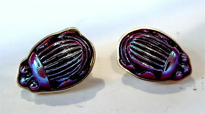 TIFFANY Glass RED Med FAVRILLE Scarab 14K Yellow GOLD Earrings PAIR - LC Tiffany