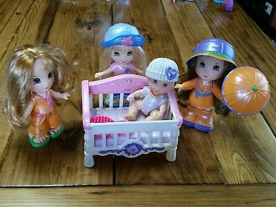 Fisher Price Snap N Style Lot 4 Dolls Baby Crib Clothes Outfit Shoes Brush Hats