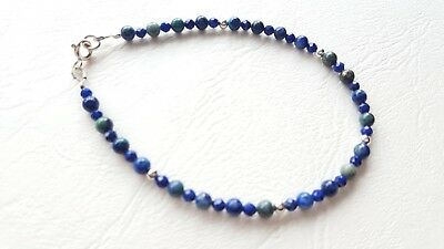 Lapis Lazuli And Sterling Silver Bracelet. Approx 2-3Mm.