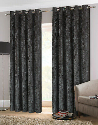Silver Grey Crush Crushed Velvet Eyelet Ring Top Ready Made Lined Curtains