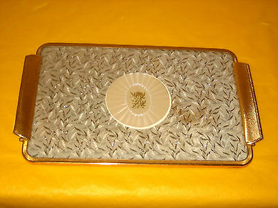 VINTAGE Dressing Table tray GILDED METAL,EMBROIDERED (stained)  (0.6/150A)