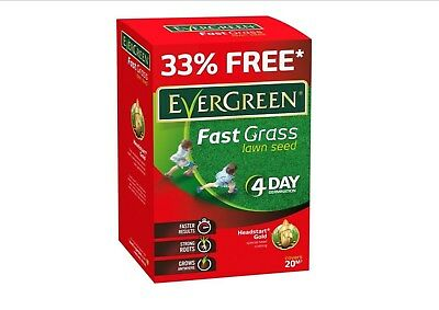 Evergreen Fast Grass Lawn Seed 15m2 Plus 33% Extra Free 4 Day Germination 600g