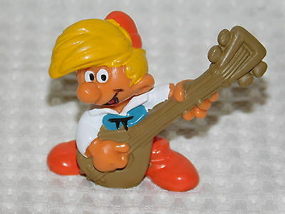 Vintage Rare Smurf Friend Pewit Playing A Lute 1978 Smurf