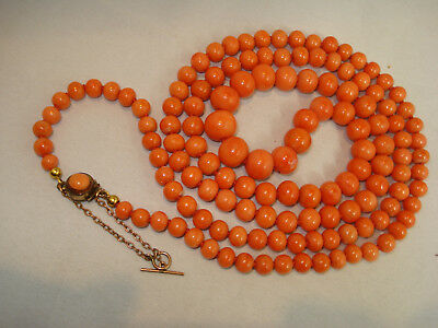 Antike Korallen Kette old natural coral necklace 53g Lachskoralle alt 1cm-0,5cm