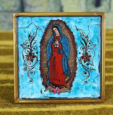 Lovely Turquoise Nuestra Señora de Guadalupe Painted on a Mirror Peru Folk Art