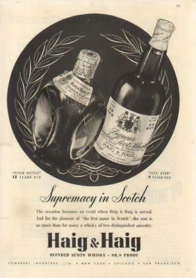 1937 Haig Five Star~Pinch Scotch Whiskey Bottle print Ad
