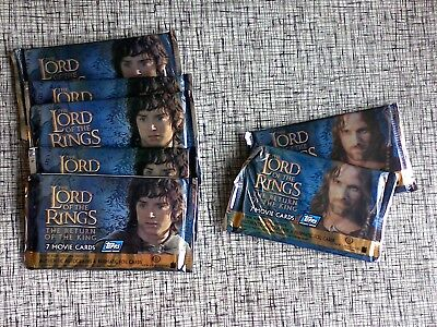 7 Packs The Lord of the Rings ROTK Pack of 7 Trading Cards by Topps 2004