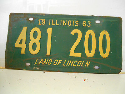 plaque immatriculation  usa 1963 illinois license plate old americaine