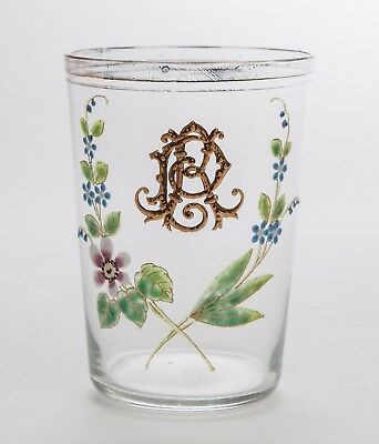 Antique Victorian/Edwardian Glass Tumbler With Hand Painted Flowers & Initials