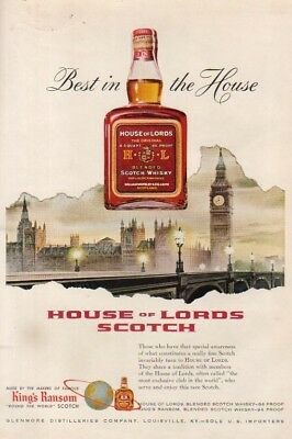 1955 House of Lords Scotch Whiskey~Whisky London Vintage 1950s Illustrated Ad