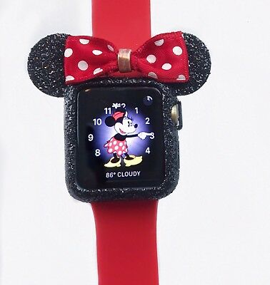 #Apple Watch #Black Glitter Case # Minnie Mouse Ears