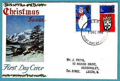 GB 1966 First Day Cover Christmas Issue CDS Leeds