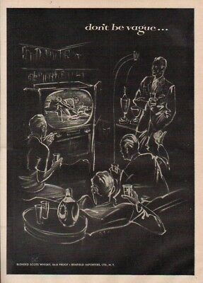 1952 Haig Scotch Whiskey TV Baseball Vintage 50s Television RBW Illustrated Ad