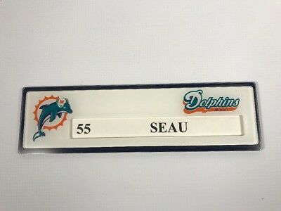 Junior Seau Miami Dolphins Game Used Locker Tag Namplate