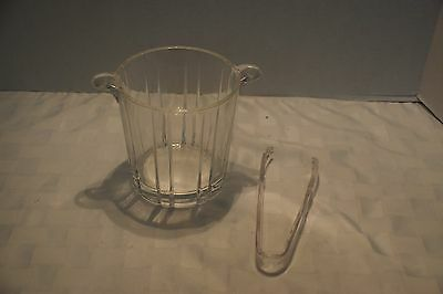 Vintage Clear Glass Ice Bucket With Plastic Tongs