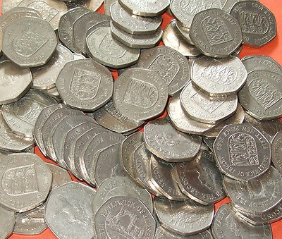 * * * Jersey - Bulk Lot of 20 Large Obsolete/Withdrawn 50 Pence 50p Coins * * *