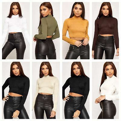 Girls Turtle Neck Crop Ladies Long Sleeve Plain Polo Short Stretch Top 6 8 10 12