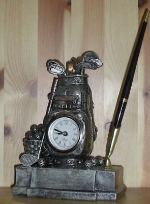 Golfer's Xmas Gift -Personalized Hand Crafted Golf Bag Clock & Pen Holder