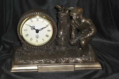 Golfer's Xmas Gift -Personalized Antique Look Bronze Cast Golf Clock