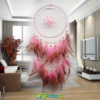 Handmade Pink Dream Catcher With Feathers Wall Hanging Decoration Ornament Gift