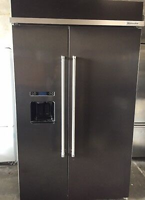 "KitchenAid KBSD608EBS 48"" Stainless Built In Side by Side Refrigerator"